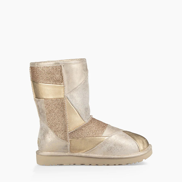 Classic Glitter Patchwork Boot Gold