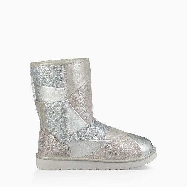 Classic Glitter Patchwork Boot Silver