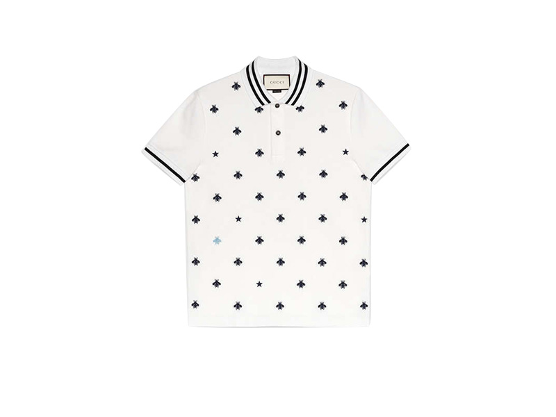 9f5a36fad Cotton polo with bees and stars white cotton - Flymal system