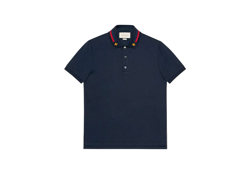 f1f0e30b0 Cotton polo with Web and bee ink blue stretch cotton - Flymal system