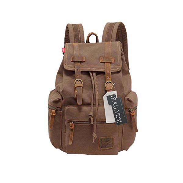VDSL-AUGUR SERIES Vintage Canvas Leather Backpack Hiking Daypacks Computers Laptop  Backpacks Unisex Casual Rucksack Satchel Bookbag Mountaineering Bag for ... 73c1d8e2c1ca2